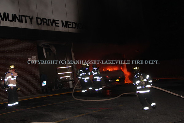 M-LFD Extinguishes Vehicle Fire with Extension to Building