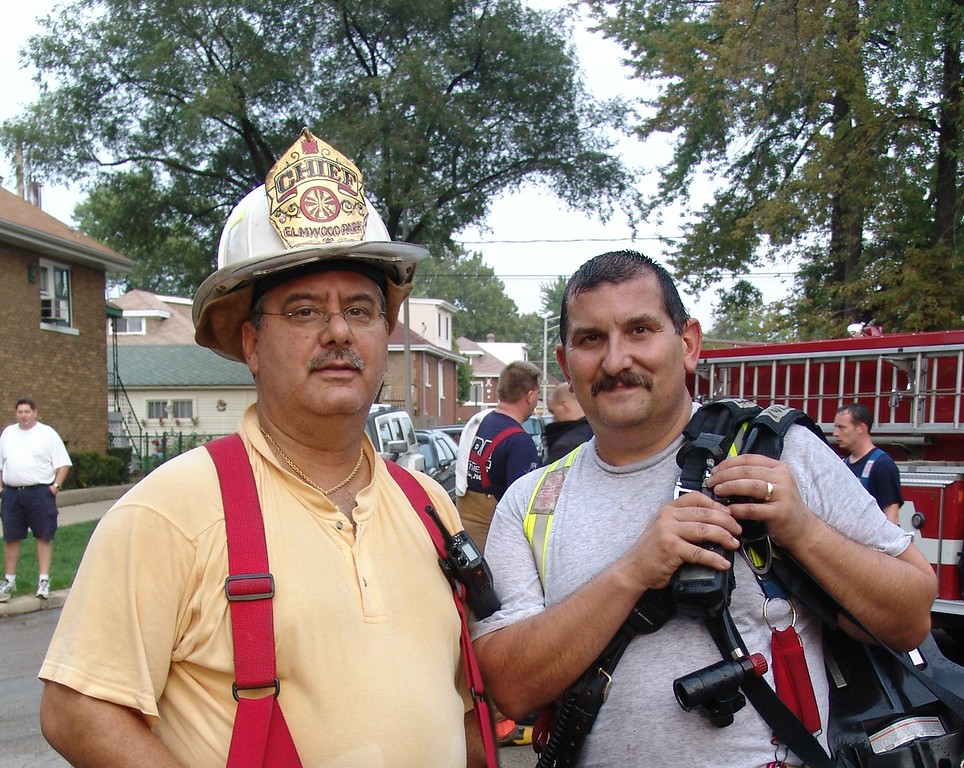 Fire Chief Mike Marino Of The Elmwood Park Fire With Fire Chief Dave Traiforos Of The Franklin Park Fire Department.