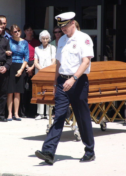 Chicago Fire Commissioner Raymond Orozco At The Funeral Of Fire Captain Sherwood J. Murray Of Truck Company 30.