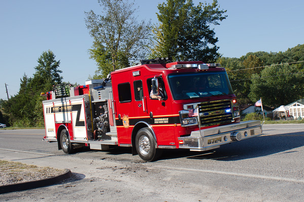 Mappaville, MO Fire Protection District Pumper #6724 participates in the 25th Annual Jeffco Fire Engine Rally Parade in Herculaneum, Missouri on 29 September 2018.