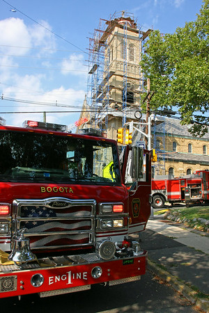 Bogota 2nd alarm  St. John's Church Bell Tower Fire 8-27-14