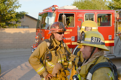 Lancaster, CA LACoFD responds to a barn fire on the east side of Lancaster July 4, 2014