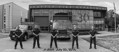 Seattle Fire Station 30, A-Shift in Class B, B&W