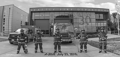 Seattle Fire Station 30, A-Shift in Bunkers, B&W