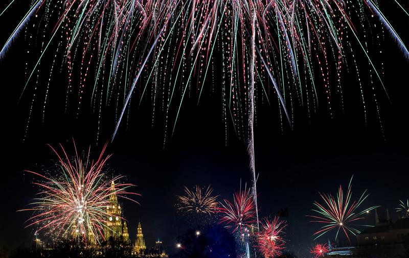 New Year's Fireworks; Wien; Austria