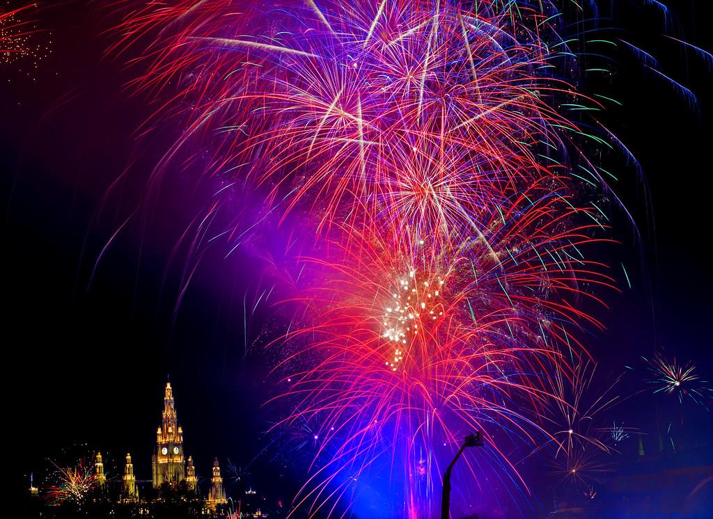 New Year's Fireworks; City Hall; Wien; Austria