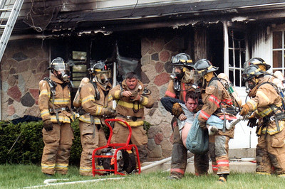 The young man pictured suffered severe smoke inhalation and survived.