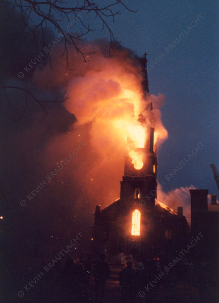 St. Mary's Church fully involved at this 5 alarm fire. Photo by William Brautlacht