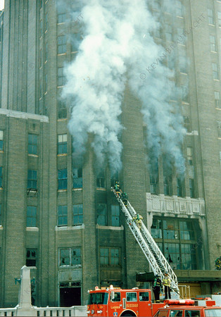 Ladder 11 works at a fire at the Central Terminal.