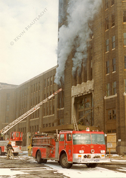 Engine 18 works at a fire at the Central Terminal.