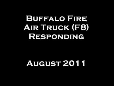 Air truck responds to an alarm of fire from quarters.