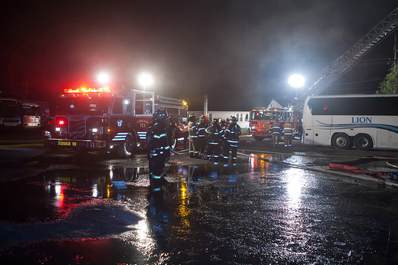 Bus fire within the depot