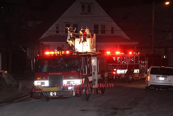 Winthrop, MA Firefighters Annual Chrismas Eve Santa Parade 12-24-13
