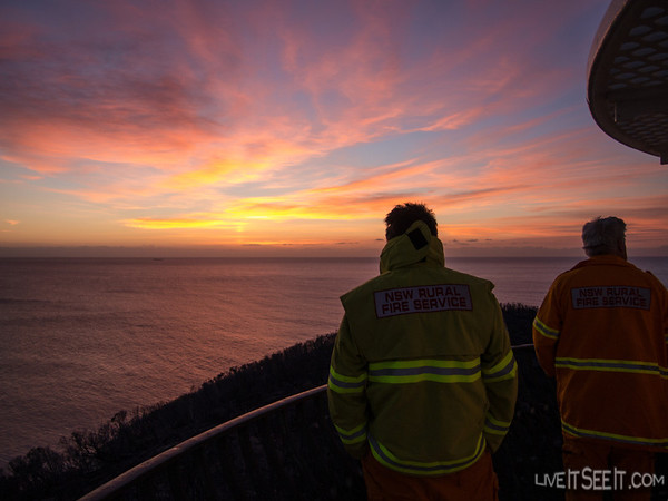 Dawn from Barrenjoey lighthouse observed by firefighters