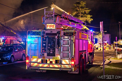 Aerial Pumper 97 Huntingwood at the Log Cabin Motel Fire