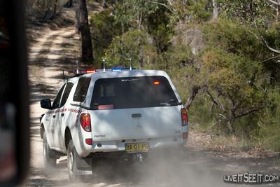 Divcom patrols the Western edge of the burn.
