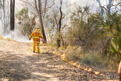 A firefighter locks in burning on a small section of scrub.