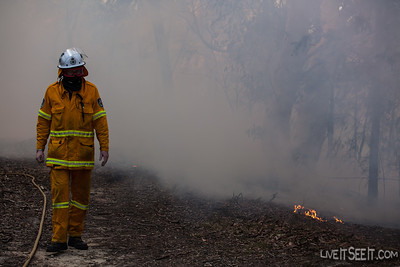 A Davidson firefighter monitors burning operations