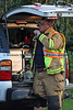 Fire Chief operates from his mobile command post in the rear of his vehicle.