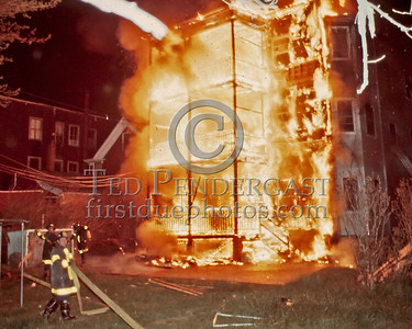 May 17,1986 - 2 Alarms Box 3182 for a 3-Decker under renovation on Adams St near Park St in Dorchester. Rear porches of a building under renovation. There were several other fires in this building over a 2 year period as I recall.