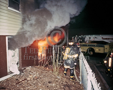 SOMERVILLE, Mass. - Dec.6,1986 - 4 Alarms transmitted for this fire at 202 Highland Avenue. A friend and I discovered the fire on the way home from a night of buffing. A light haze in the street and the sight of an occupant diving out a 1st floor window were the tip off. We turned in the initial alarm from the street box and entered the building to alert residents who were not already making their way out of the building. We missed all but two on the top floor who were later rescued via Ladder 2's stick.