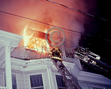 ARLINGTON, Mass. - April 11,1986 - 2 Alarms for a fire on the top floor of a 2-1/2 Story residential duplex on Lake Street around 3am.