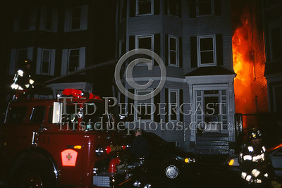 October 29,2000 - 9-Alarms transmitted for Boston Box 7441 for a fire that started on Swallow St. at around 0130hrs. The fire was driven by a strong wind and would eventually destroy 7 buildings on Swallow St and East 6th St near N St.