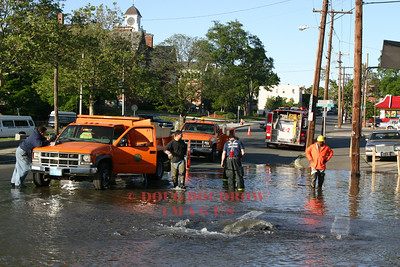 Winthrop, MA - A large water main break caused damage to the roadway on Pauline Street near Winthrop Center, 6-9-05.
