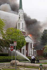 Cambridge MA USA - Fire throughout the attick space and through the roof of a LDS Church. Sun.,May 17,2009.