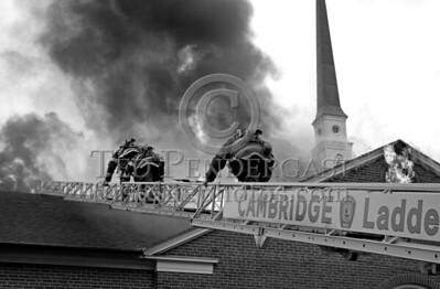 4 Alarms in Cambridge Massachusetts USA for a fire involving a Church at 2 Longfellow Park off Brattle St. Heavy fire throughout the attic space and through the roof. Sun., May 17,2009.