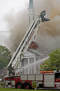 Cambridge MA USA - Fire in the attic space and through the roof of an LDS Church. Sun.,May 17,2009