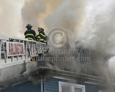 Out front - Arlington Ladder 1 opening the roof