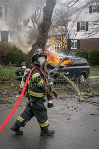 Belmont MA - MVA w/fire 245 Washington St at Sharpe Rd
