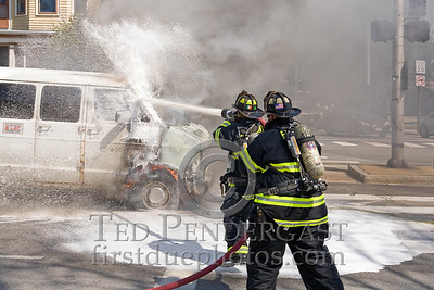 Belmont,Mass.- Firefighters Operating with Foam at Van Fire. Sat,April 25,2009