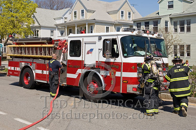 Belmont,Mass.- Firefighters Operate With Foam At Van Fire. Sat.April 25,2009
