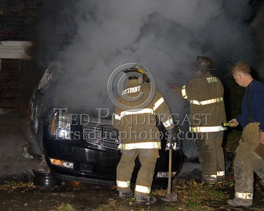 Detroit,MI - Engine Co.50 Operating At A Car Fire - 12824 Wilshire Drive - Stripped Cadillac Escilade Rear Of Vacant House
