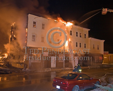 Large Building Involved On Parker St Corner Of Springfield St -- 5+Alarms transmitted for a major fire that destroyed or damaged nearly a dozen buildings in South Lawrence in the frigid early morning hours of Mon.,Jan.21,2008.