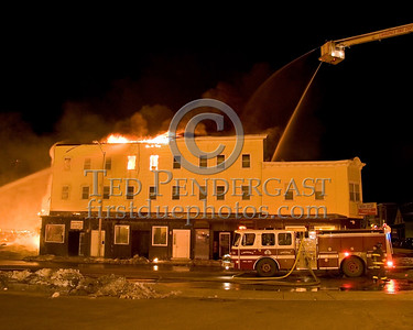 Parker St side of the fire -- 5+Alarms transmitted for a major fire that destroyed or damaged nearly a dozen buildings in South Lawrence in the frigid early morning hours of Mon.,Jan.21,2008.