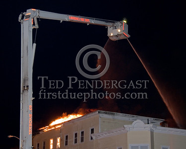 Lawrence Ladder 5 in Operation at the corner of Parker St & Springfield St -- 5+Alarms transmitted for a major fire that destroyed or damaged nearly a dozen buildings in South Lawrence in the frigid early morning hours of Mon.,Jan.21,2008
