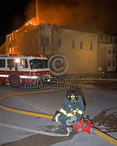 Water Supply On Parker St at Springfield -- 5+Alarms transmitted for a major fire that destroyed or damaged nearly a dozen buildings in South Lawrence in the frigid early morning hours of Mon.,Jan.21,2008.