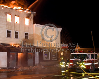 Lawrence Engine Co 9 Infront Of A Building On Parker St Corner Of Springfield St -- 5+Alarms transmitted for a major fire that destroyed or damaged nearly a dozen buildings in South Lawrence in the frigid early morning hours of Mon.,Jan.21,2008.