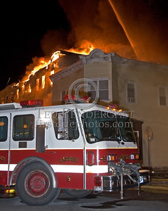 Lawrence Ladder 5 At Parker & Springfield -- 5+Alarms transmitted for a major fire that destroyed or damaged nearly a dozen buildings in South Lawrence in the frigid early morning hours of Mon.,Jan.21,2008.