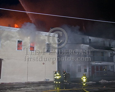 Fire Spreading To The Springfield End Of The Large Building On Parker St -- 5+Alarms transmitted for a major fire that destroyed or damaged nearly a dozen buildings in South Lawrence in the frigid early morning hours of Mon.,Jan.21,2008.