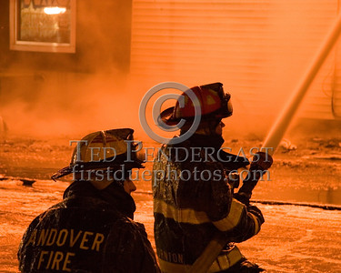 Andover Firefighters With A Big Line On The Springfield St Side Of The Fire -- 5+Alarms transmitted for a major fire that destroyed or damaged nearly a dozen buildings in South Lawrence in the frigid early morning hours of Mon.,Jan.21,2008.