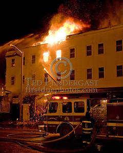 Lawrence Engine Co 9 on the Parker St side -- 5+Alarms transmitted for a major fire that destroyed or damaged nearly a dozen buildings in South Lawrence in the frigid early morning hours of Mon.,Jan.21,2008.