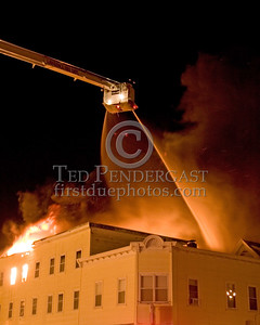 Lawrence Ladder 5 in Operation at the corner of Parker St & Springfield St -- 5+Alarms transmitted for a major fire that destroyed or damaged nearly a dozen buildings in South Lawrence in the frigid early morning hours of Mon.,Jan.21,2008.