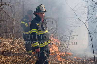 Lexington MA - Belmont Firefighters Operating at Major Brush Fire in The Great Meadows off Circle Rd FF Dennis Maher and Lt Andrew Tobio