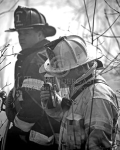 Lexington MA - Belmont Firefighters Operating at Major Brush Fire in The Great Meadows off Circle Rd FF Dennis Maher and Assistant Chief Angus Davison