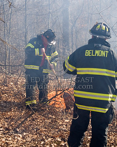 Lexington MA - Belmont Firefighters Operating at Major Brush Fire in The Great Meadows off Circle Rd FF Dennis Maher and Lt. Andrew Tobio