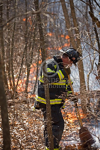 Lexington MA - Belmont Firefighters Operating at Major Brush Fire in The Great Meadows off Cirlce Rd.  Friday, April 17, 2009 FF Dennis Maher